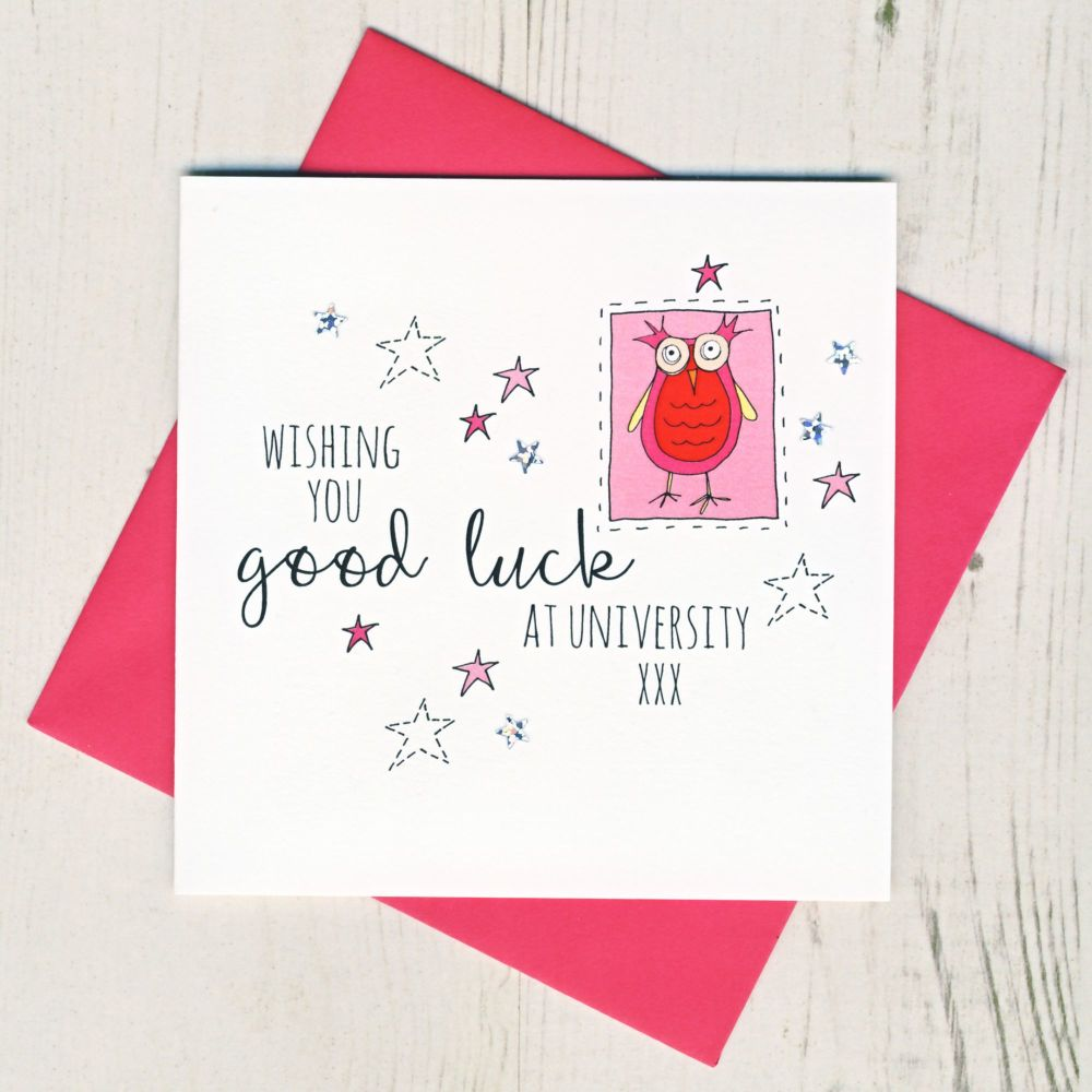 <!-- 002 -->Pink Owl Good Luck At University Card