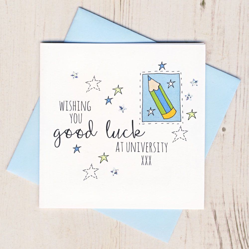 <!-- 003 -->Blue Pencil Good Luck At University Card