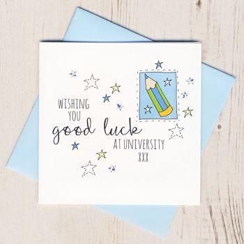 Blue Pencil Good Luck At University Card