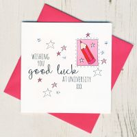 <!-- 003 -->Pink Pencil Good Luck At University Card