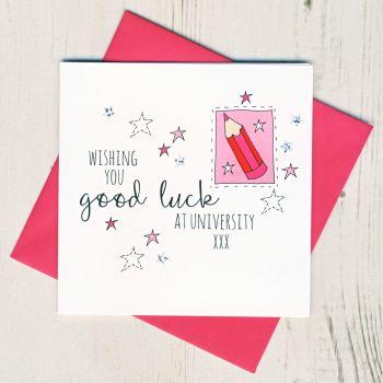 Pink Pencil Good Luck At University Card