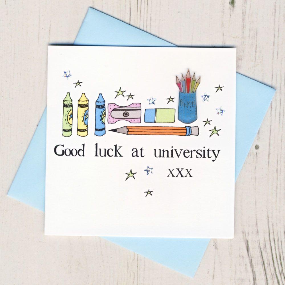 <!-- 004 -->Blue Owl Good Luck At University Card
