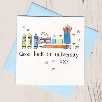 Blue Pencils Good Luck At University Card