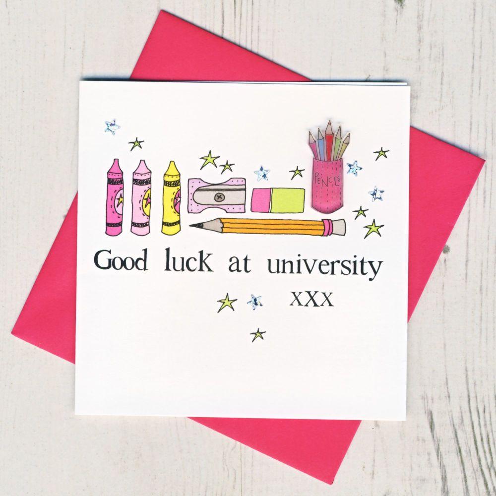 <!-- 004 -->Pink Owl Good Luck At University Card