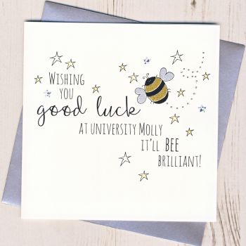 Personalised Bee Good Luck At University Card