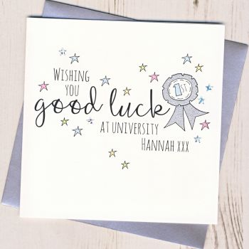 Personalised Rosette Good Luck At University Card