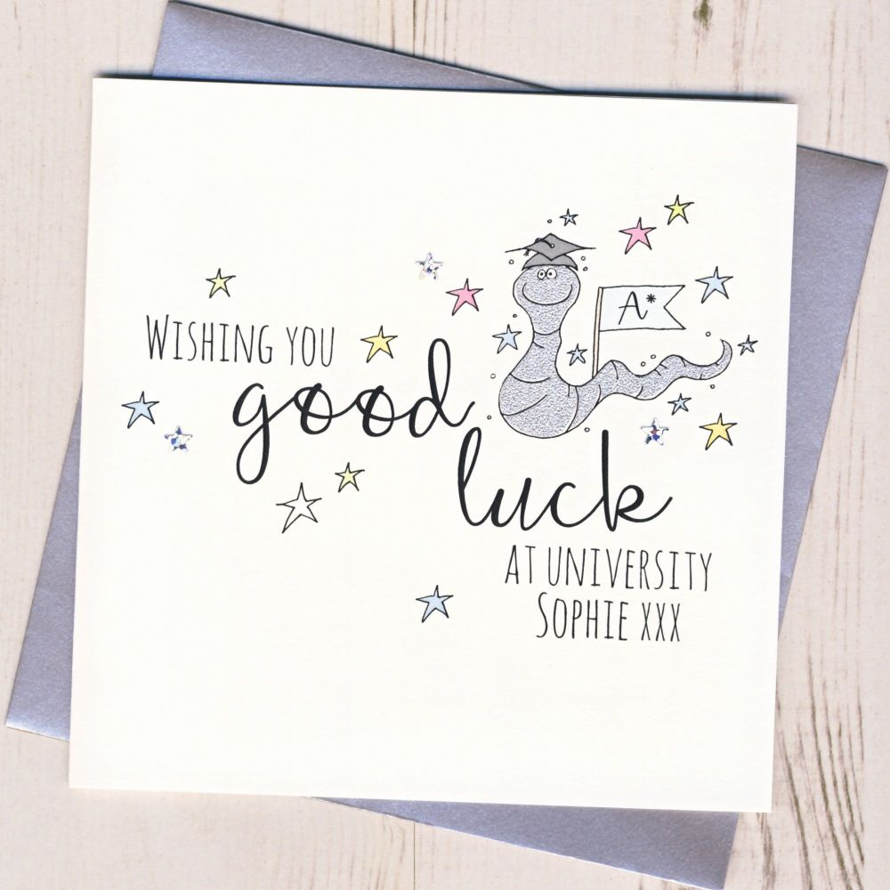 <!-- 001 -->Personalised Worm Good Luck At University Card