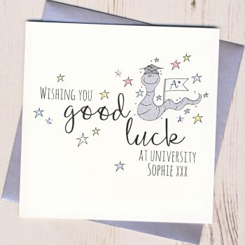 Personalised Worm Good Luck At University Card
