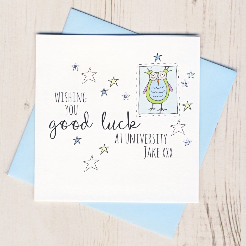 <!-- 002 -->Personalised Blue Owl Good Luck At University Card