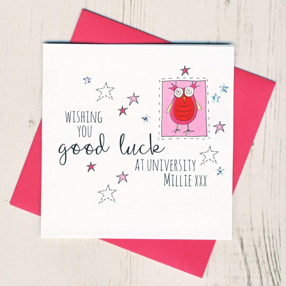 <!-- 002 -->Personalised Pink Owl Good Luck At University Card