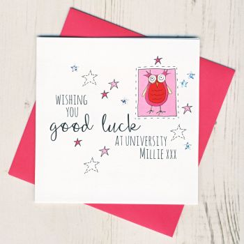 Personalised Pink Owl Good Luck At University Card