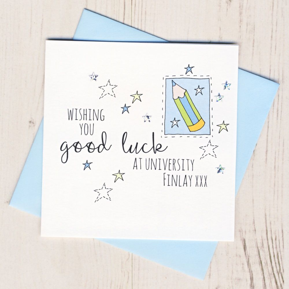 <!-- 003 -->Personalised Blue Pencil Good Luck At University Card