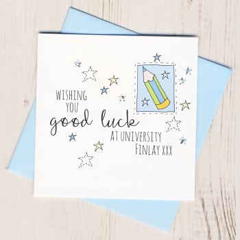 Personalised Blue Pencil Good Luck At University Card