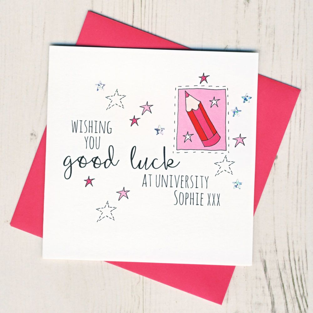 <!-- 003 -->Personalised Pink Pencil Good Luck At University Card