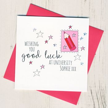 Personalised Pink Pencil Good Luck At University Card