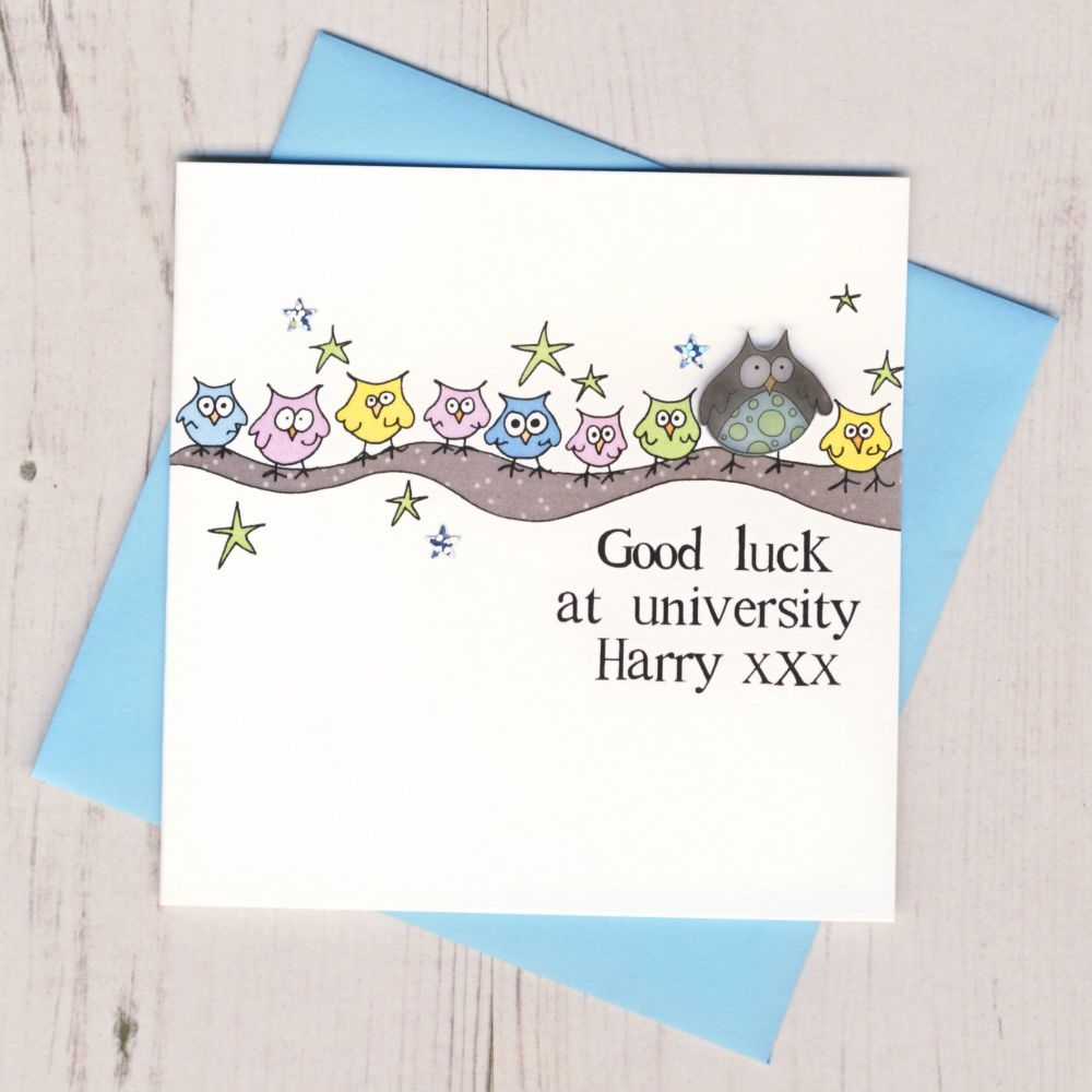 <!-- 004 -->Personalised Blue Owl Good Luck At University Card