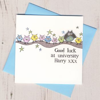 Personalised Blue Owl Good Luck At University Card