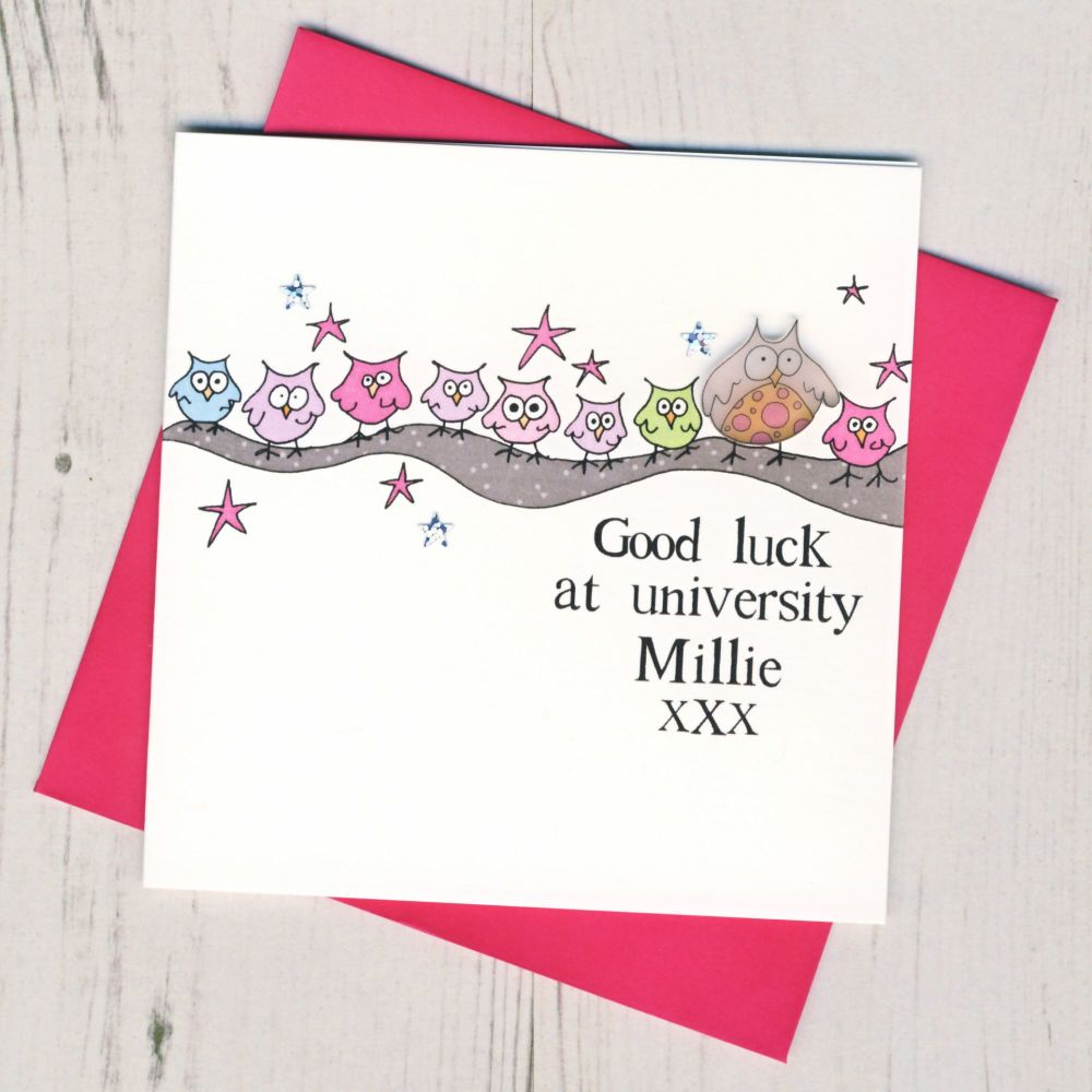 <!-- 004 -->Personalised Pink Owl Good Luck At University Card