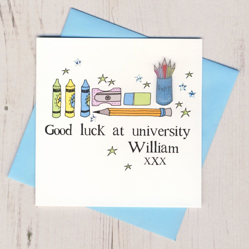 <!-- 005 -->Personalised Blue Pencils Good Luck At University Card