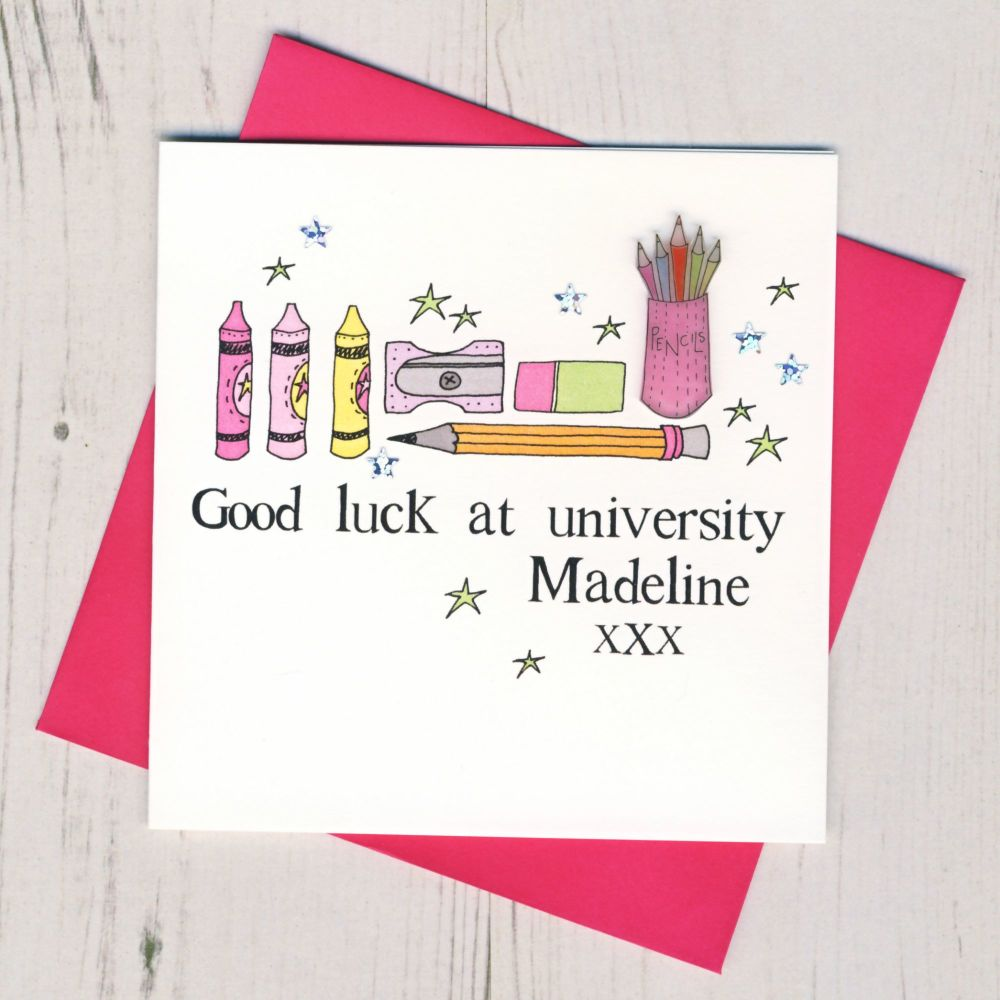 <!-- 005 -->Personalised Pink Pencils Good Luck At University Card