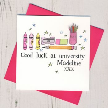 Personalised Pink Pencils Good Luck At University Card