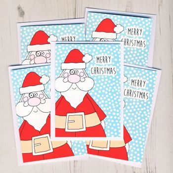 Pack of Five Mini Santa Cards