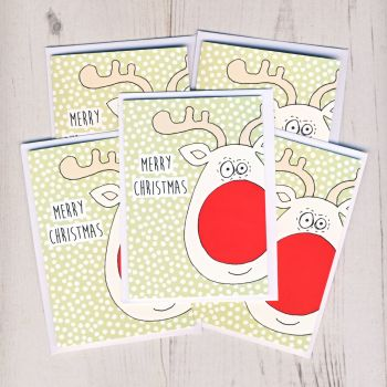 Pack of Five Mini Rudolph Christmas Cards