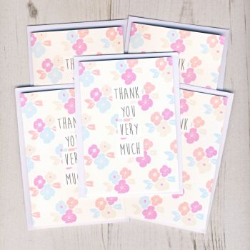 Pack of Mini Flowery Thank You Cards