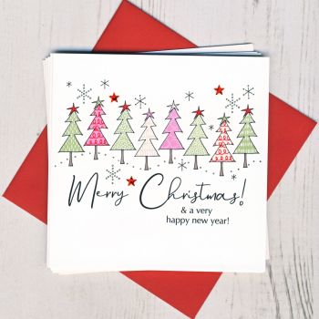 Pack of Five Christmas Tree Christmas Cards