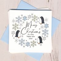 <!-- 004 -->Pack of Five Penguin Christmas Cards