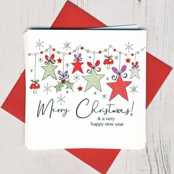 Pack of Five Christmas Stars Christmas Cards