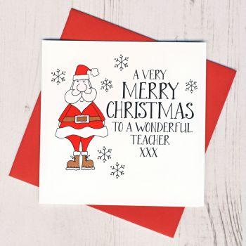 Wobbly Eyes Teacher Card Christmas Card