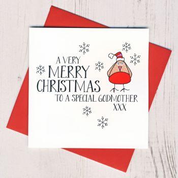 Wobbly Eyes Godmother Christmas Card