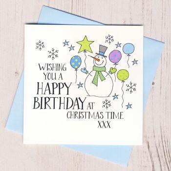 Wobbly Eyes Christmas Birthday Card
