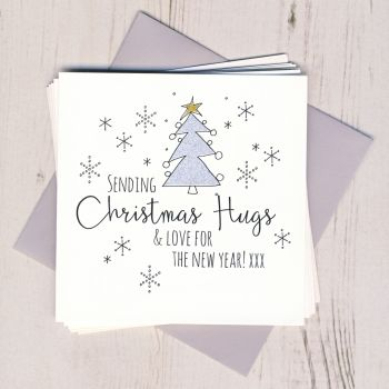 Pack of Five Glittery Christmas Hugs Cards