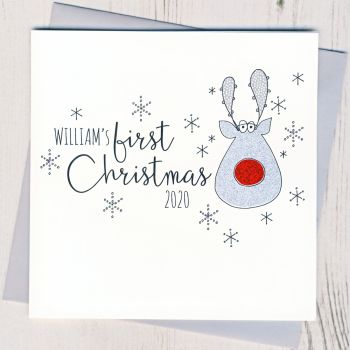 Personalised Glittery Baby's First Christmas Card