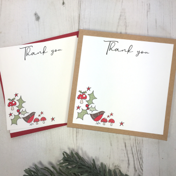 Box of 12 Robins & Holly Christmas Thank You Notecards