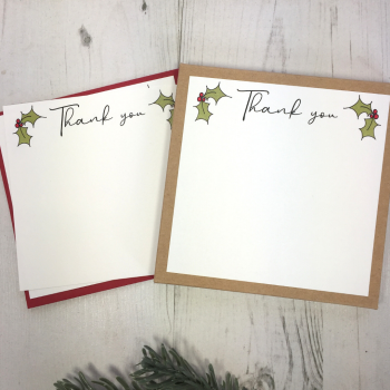 Box of 12 Holly Christmas Thank You Notecards