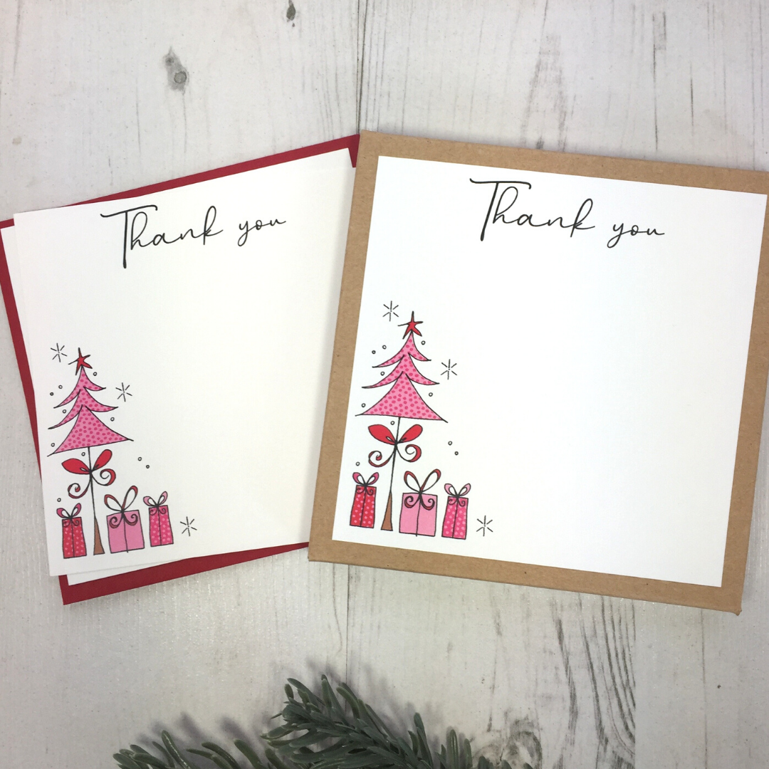 <!-- 004 -->Box of 12 Pink Christmas Tree Thank You Notecards