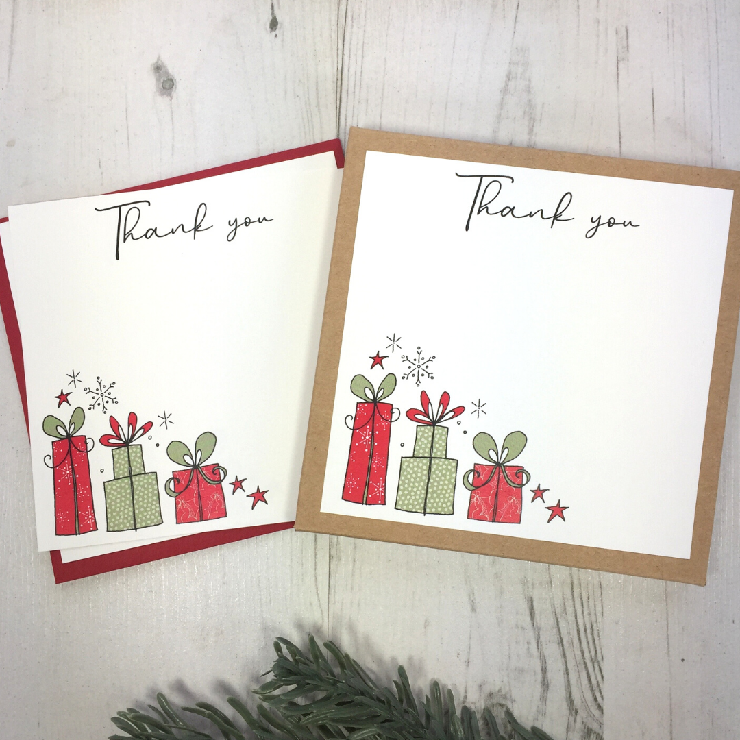 <!-- 005 -->Box of 12 Christmas Presents Thank You Notecards