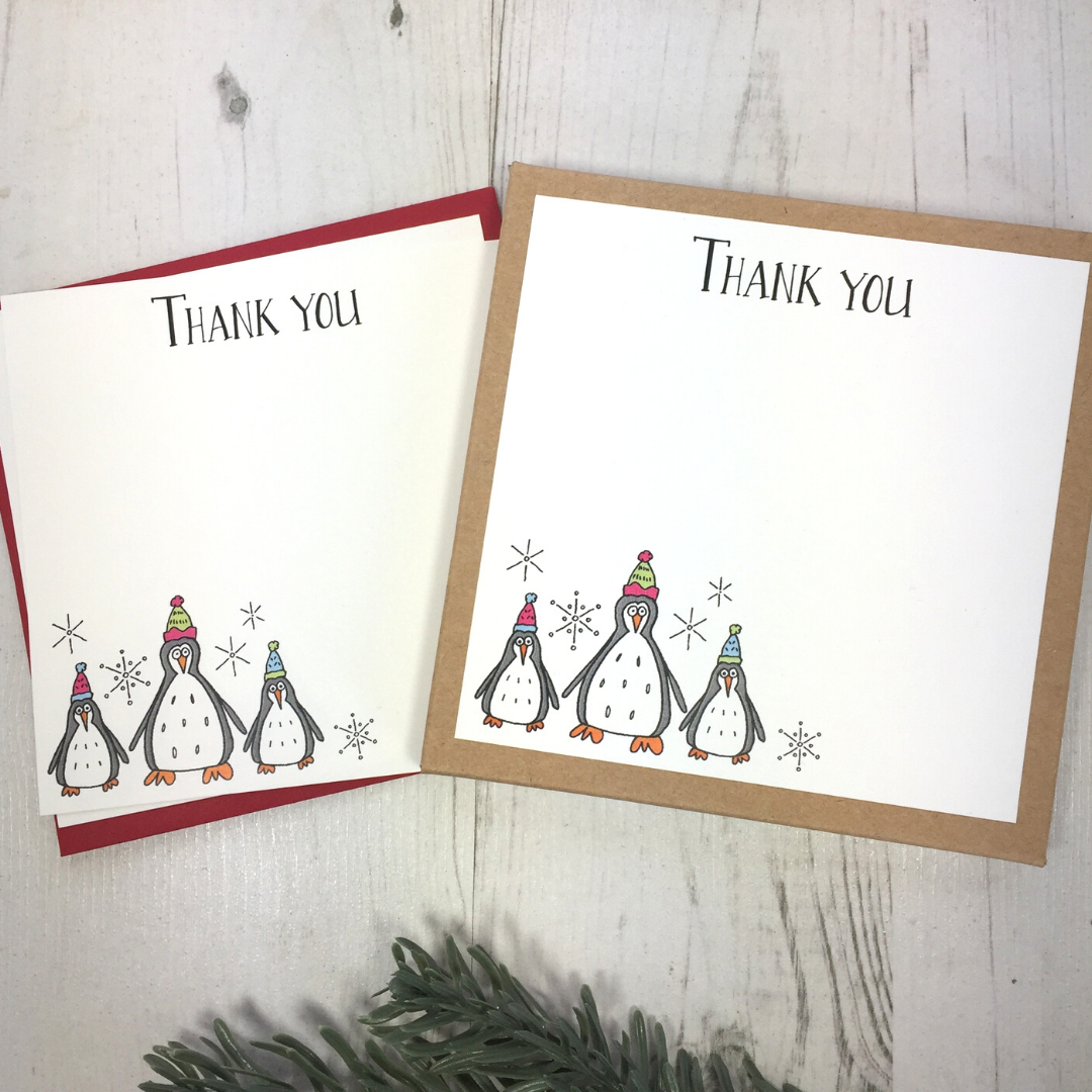 <!-- 005 -->Box of 12 Penguin Thank You Notecards