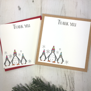 Box of 12 Penguin Christmas Thank You Notecards