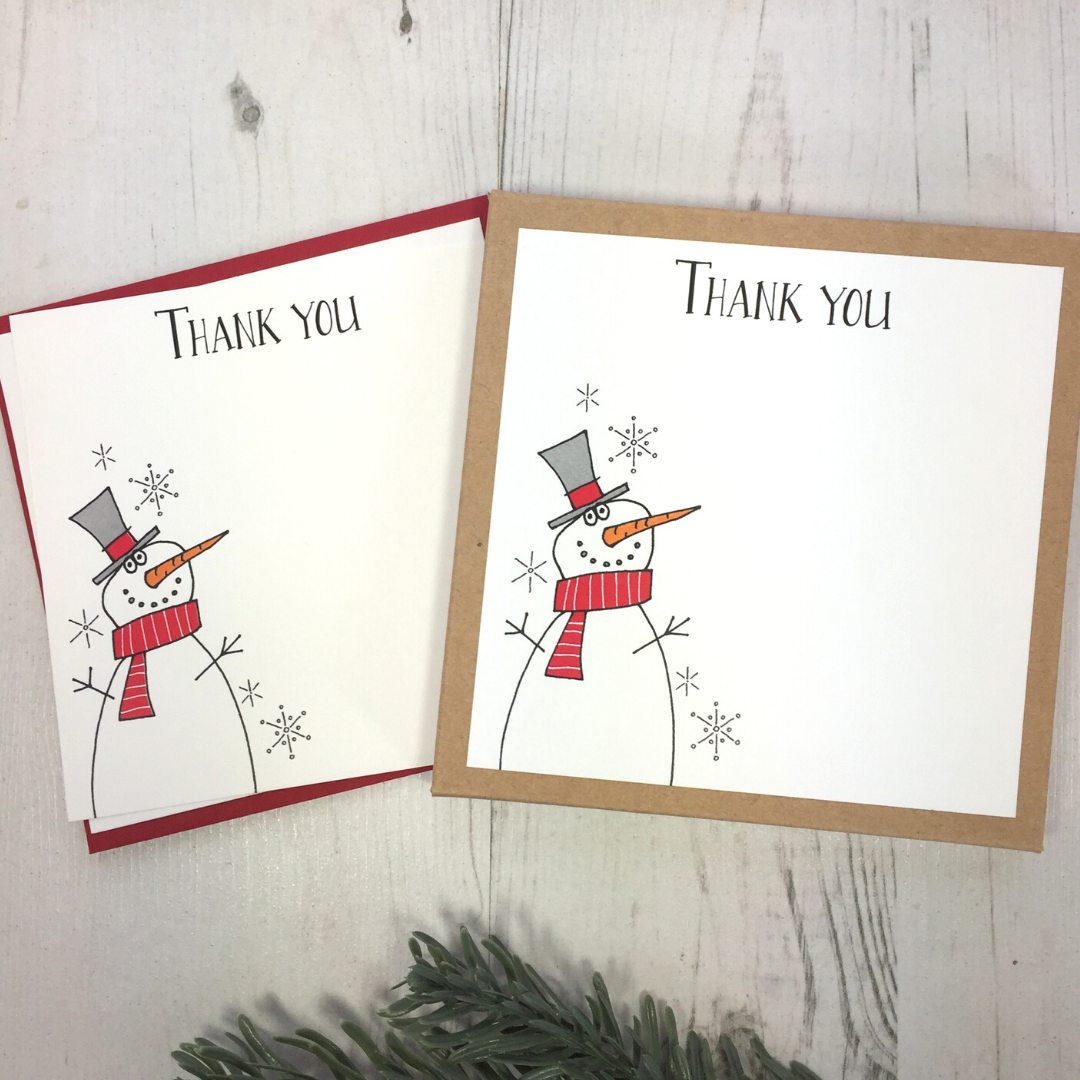 <!-- 007 -->Box of 12 Snowmen Thank You Notecards