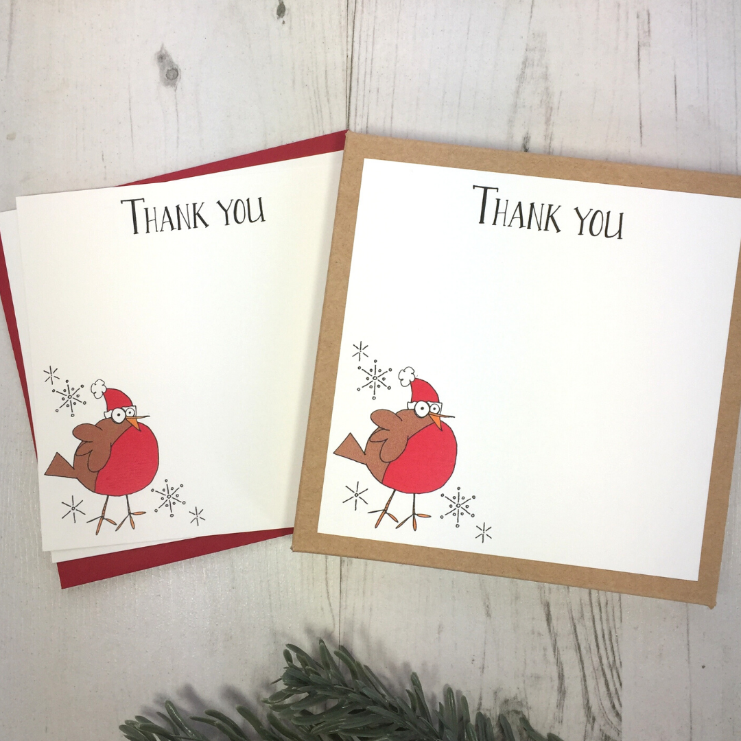 <!-- 008 -->Box of 12 Robin Thank You Notecards