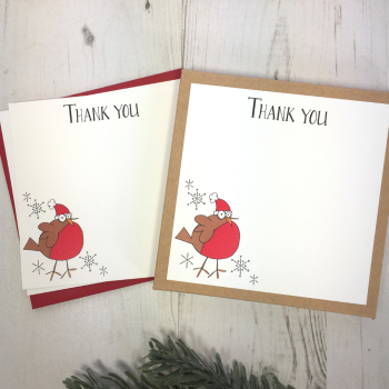 Box of 12 Robin Christmas Thank You Notecards
