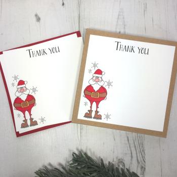 Box of 12 Santa Christmas Thank You Notecards