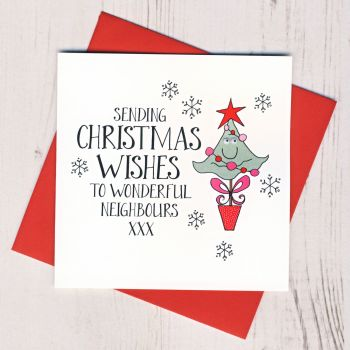 Wobbly Eyes To Neighbours Christmas Card