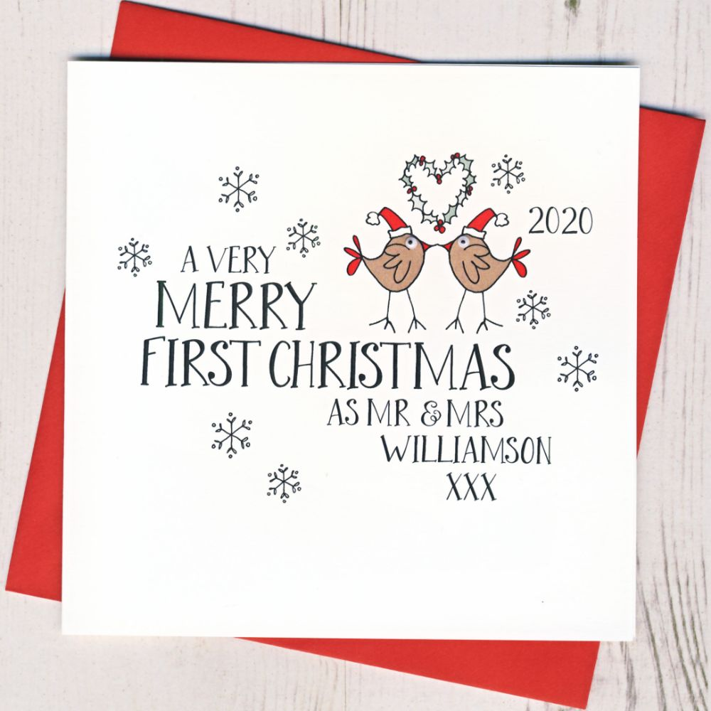 Personalised 1st Christmas As Mr & Mrs Cards