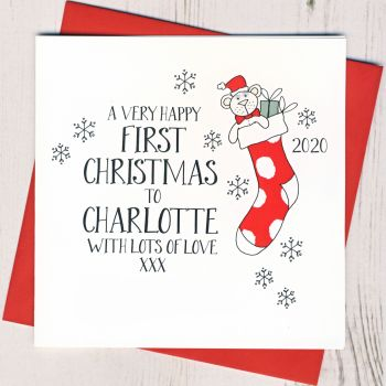 Personalised Wobbly Eyes Baby's 1st Christmas Card