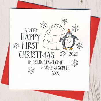 Wobbly Eyes First Christmas in Your New Home Card
